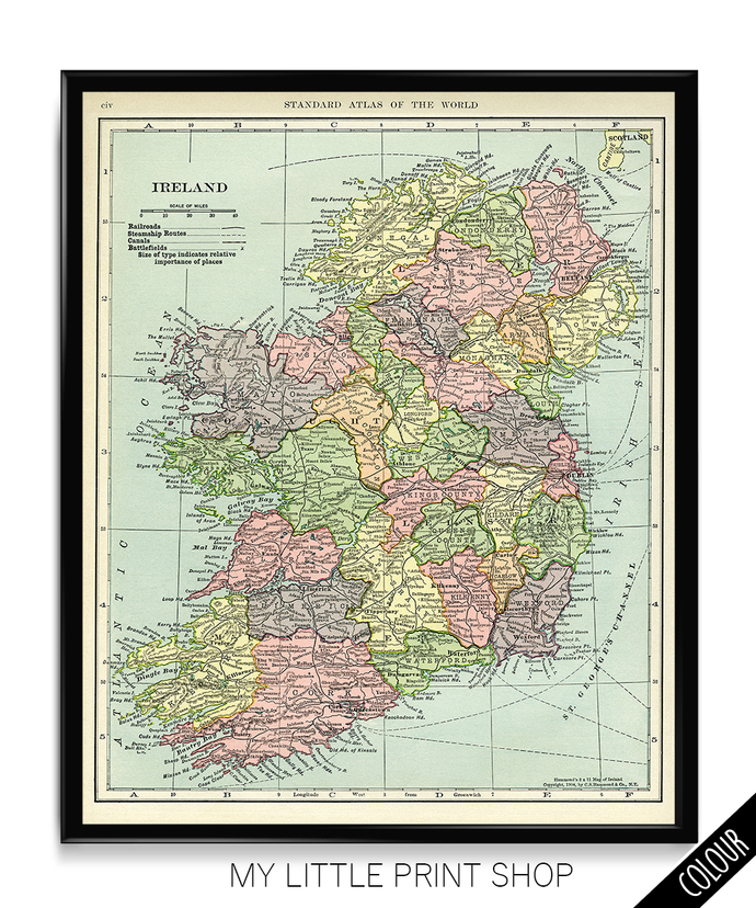 Vintage 1906 Map of Ireland
