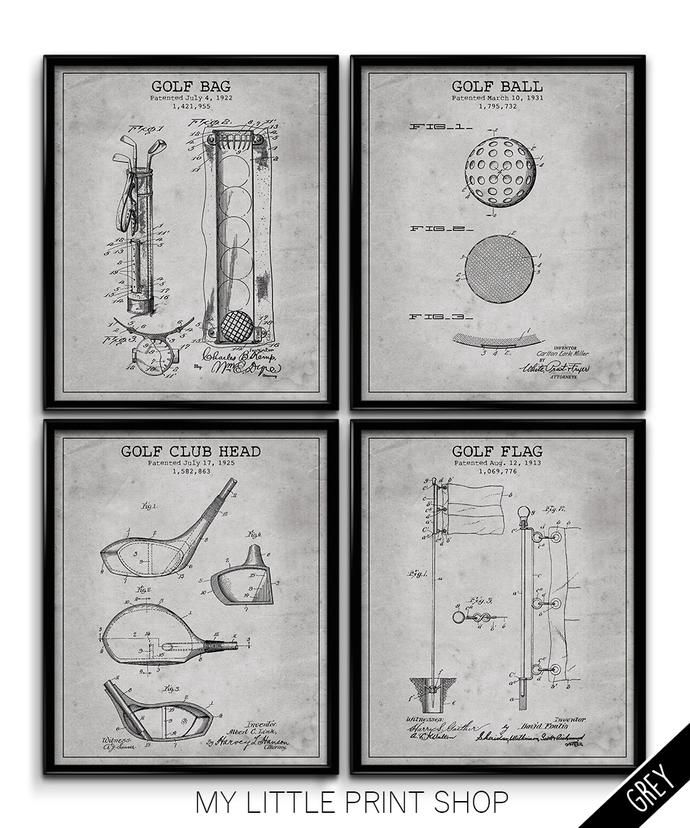 Vintage Golf Patent Print Set