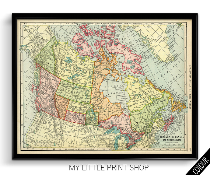 Map Of Canada To Colour.Vintage 1906 Map Of Canada By My Little Print Shop On Zibbet