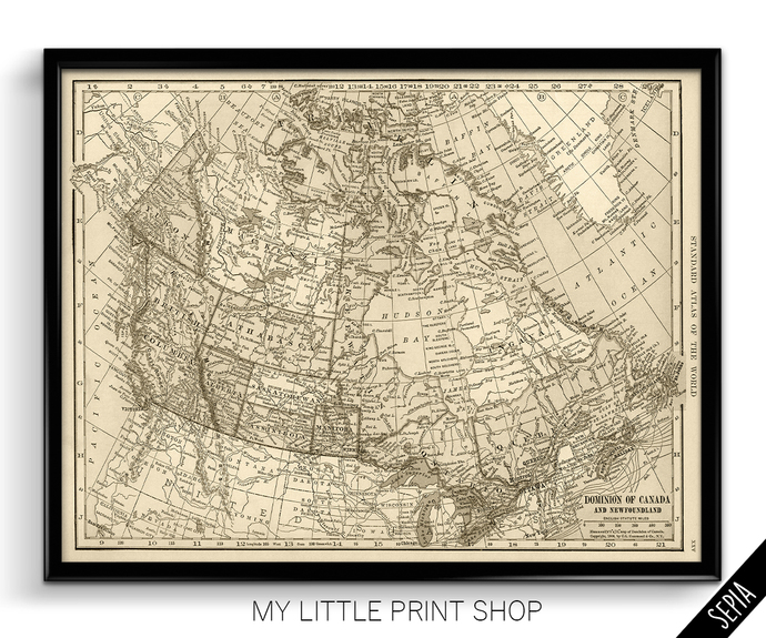 Vintage 1906 Map of Canada