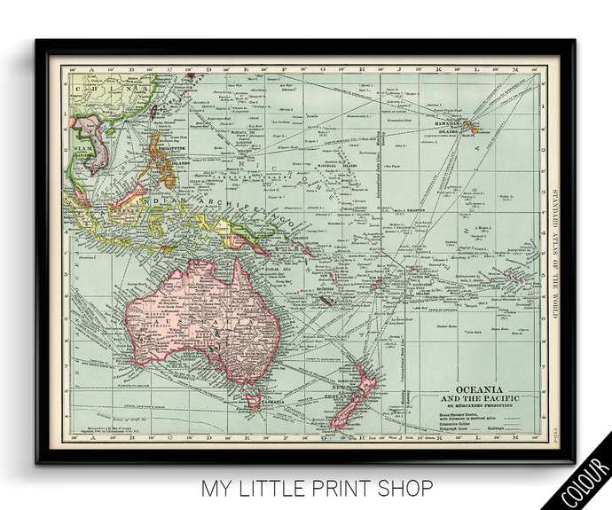 Vintage 1906 Map of the Pacific Ocean