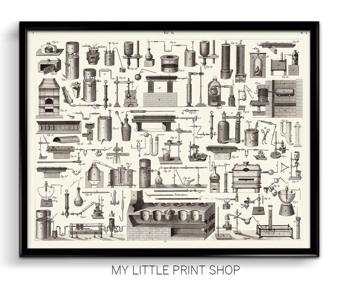Vintage 1851 Chemistry Mineralogy Geology Instruments