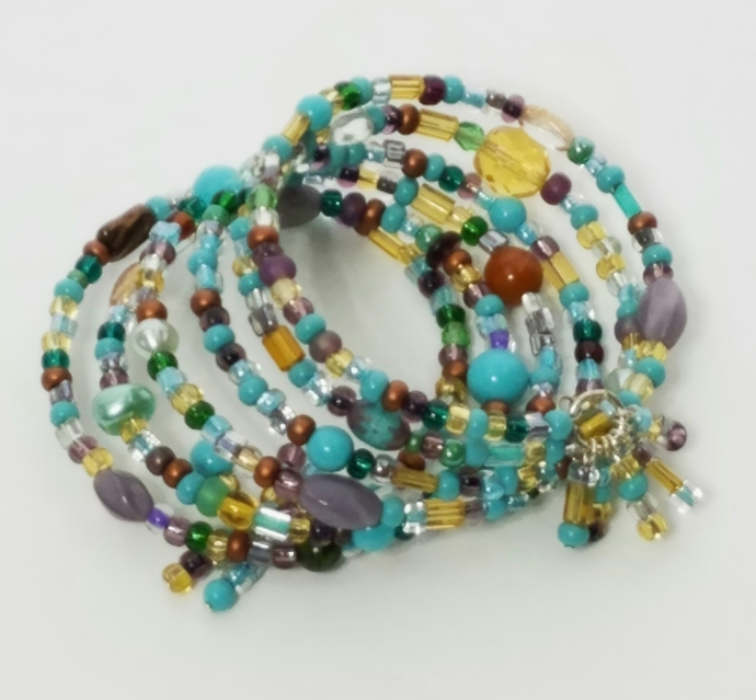 Turquoise Czech Glass Seed Bead Mix Memory Wire Bracelet 6 Loop Beaded Wrap Boho