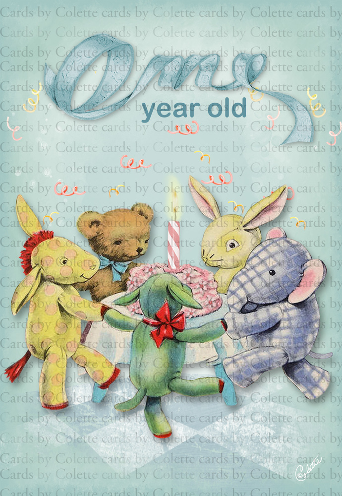 Birthday Card For One Year Old Digital Collage Greeting Card956
