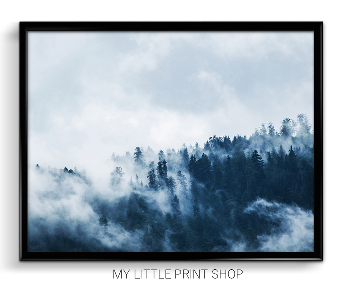 Blue Foggy Mountain Forest Photography Print