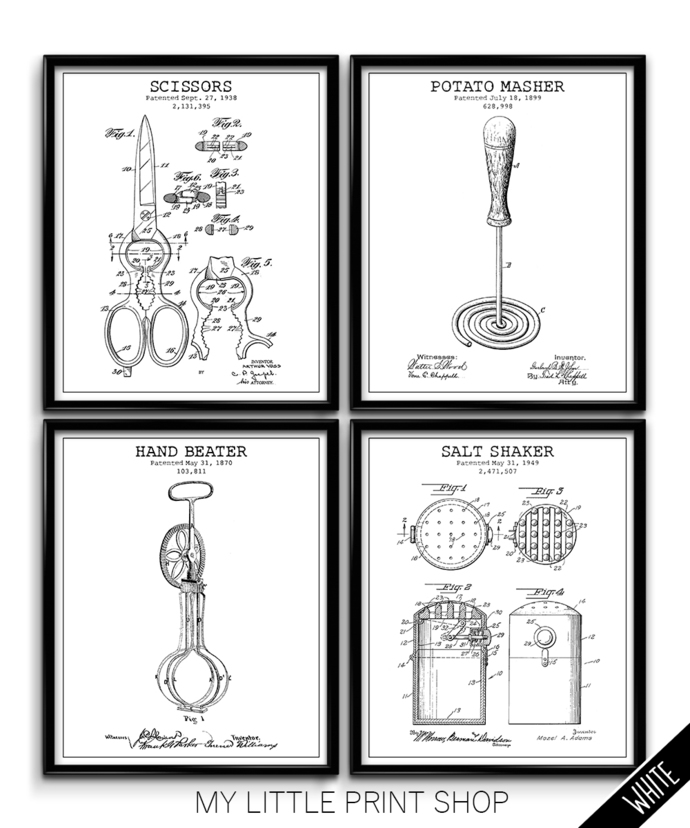 Vintage Kitchen Utensils Patent Set
