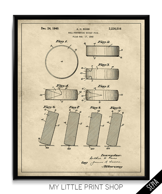 Vintage Ice Hockey Puck Patent