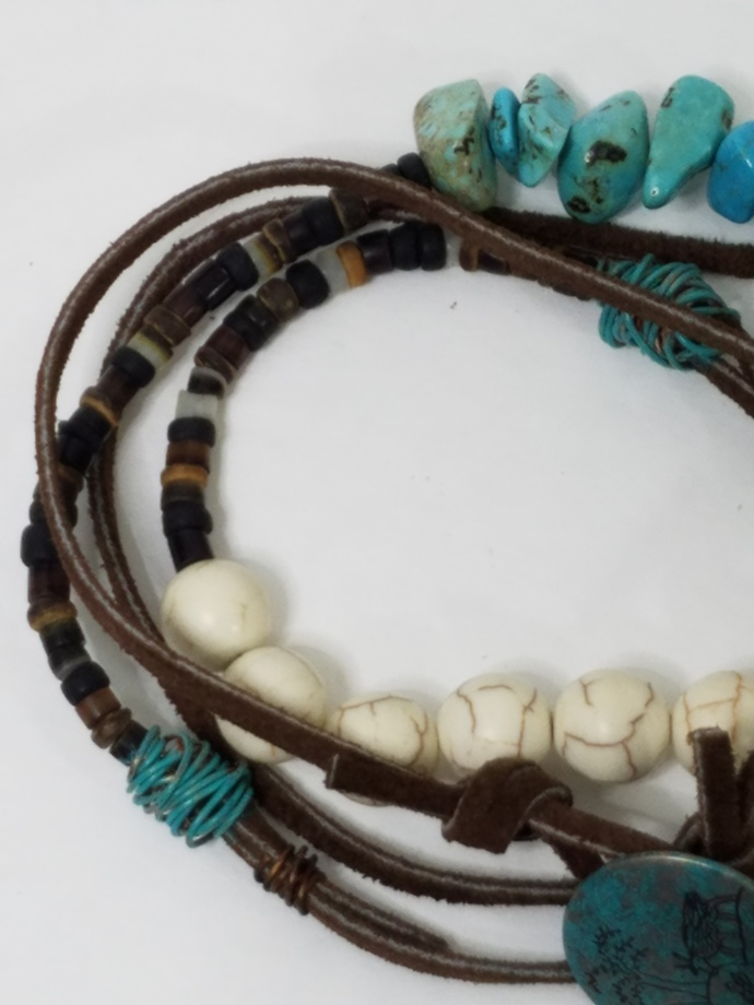 Multi Wrap Leather Turquoise Magnesite Gemstones Heishi Shell Bracelet