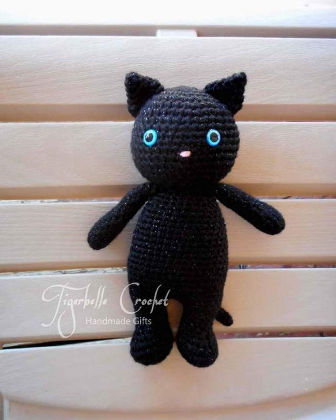 crochet cat- stuffed kitty - plush -stuffed pet - animal toy - handmade cat -