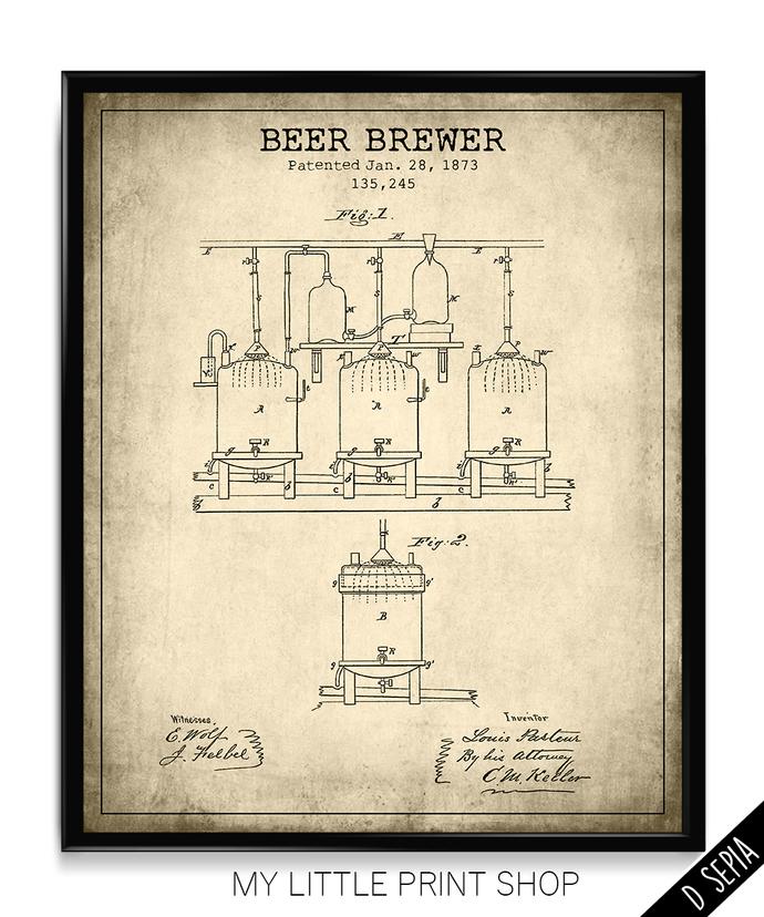 Beer Brewer Patent Print