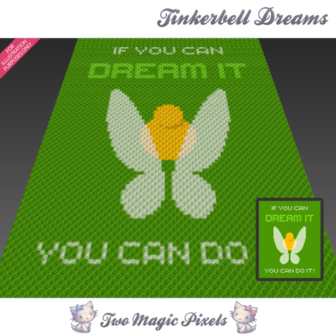 Tinkerbell Dreams Crochet Blanket Pattern C2c Cross Stitch Graph Pdf