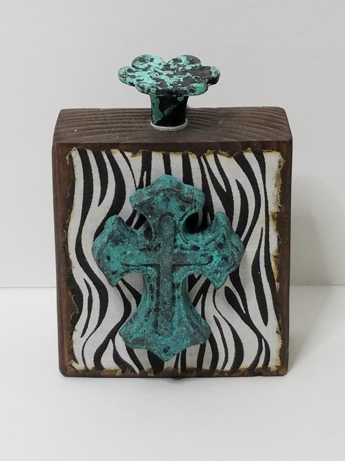 Vintage Wrought Iron Cross Zebra Print Pull Knob Wood Block Home Decor