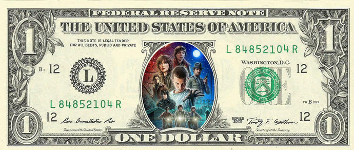STRANGER THINGS TV Show on a REAL Dollar Bill Cash Money Collectible Memorabilia