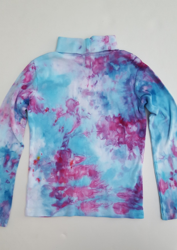 Girl's  Turtleneck - Pretty Blue and Pink Colors- Ice Dyed Top - Size 6 Girl's -