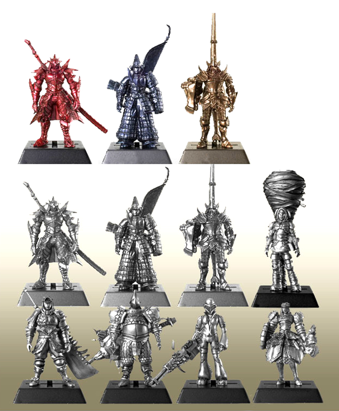 "Bandai Monster Hunter Gashapon Figures Full Set Of 11 (8 + 3 ""Secret"" Color"