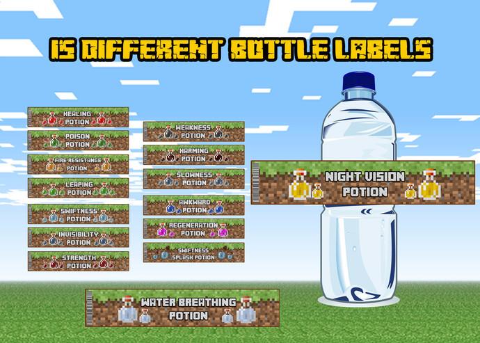Minecraft Bottle labels. Minecraft game birthday. Minecraft birthday party