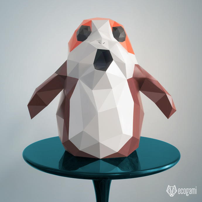 Make Your Own Star Wars Porg 3d Papercraft By Ecogami On
