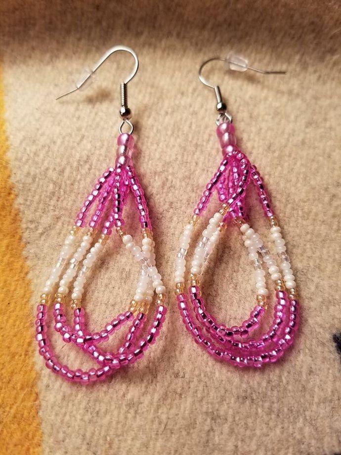 Choctaw Style Triple Loop Earrings (Pink)