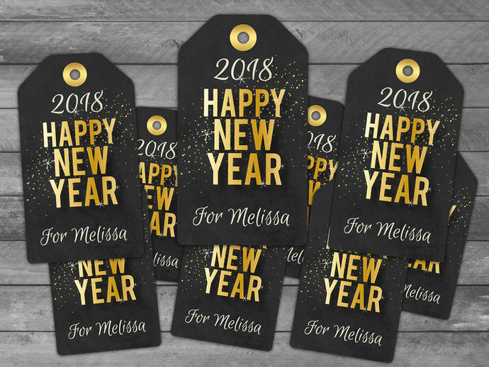 Happy New Years Gift Tags - New Years Labels - New Years Favor Tags - Instant