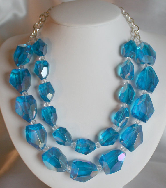 Chunky Blue Crystal Quartz Statement Necklace, Big Blue Nugget Jewelry, Large