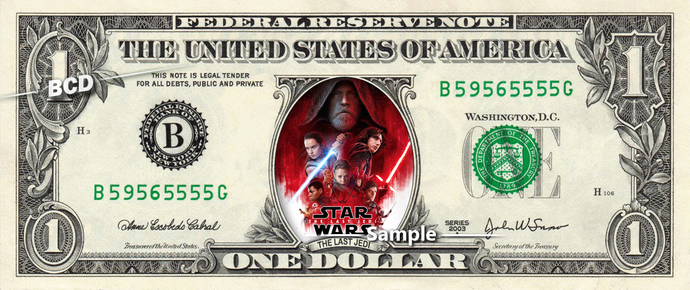 Star Wars The Last Jedi on a REAL Dollar Bill Disney Cash Money Collectible