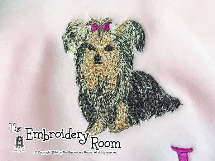 Yorkie-Full Body-Flop Eared-Custom Embroidered Dog Blanket