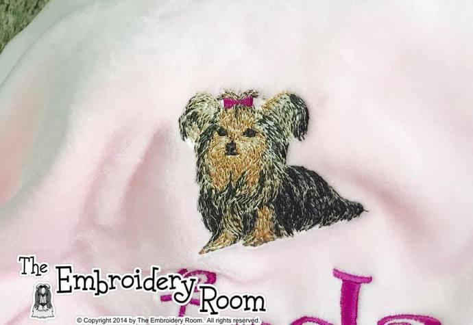 Yorkie-Full Body-Flop Eared-Custom Embroidered Dog Blanket