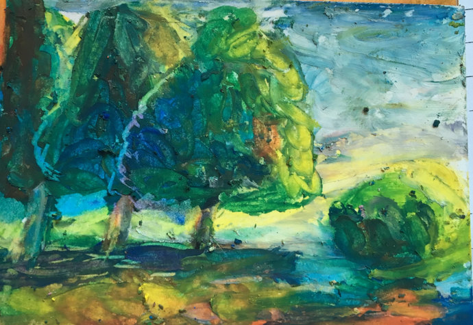 Original ACEO Oil Pastel Painting:  Three Trees Make a Forrest