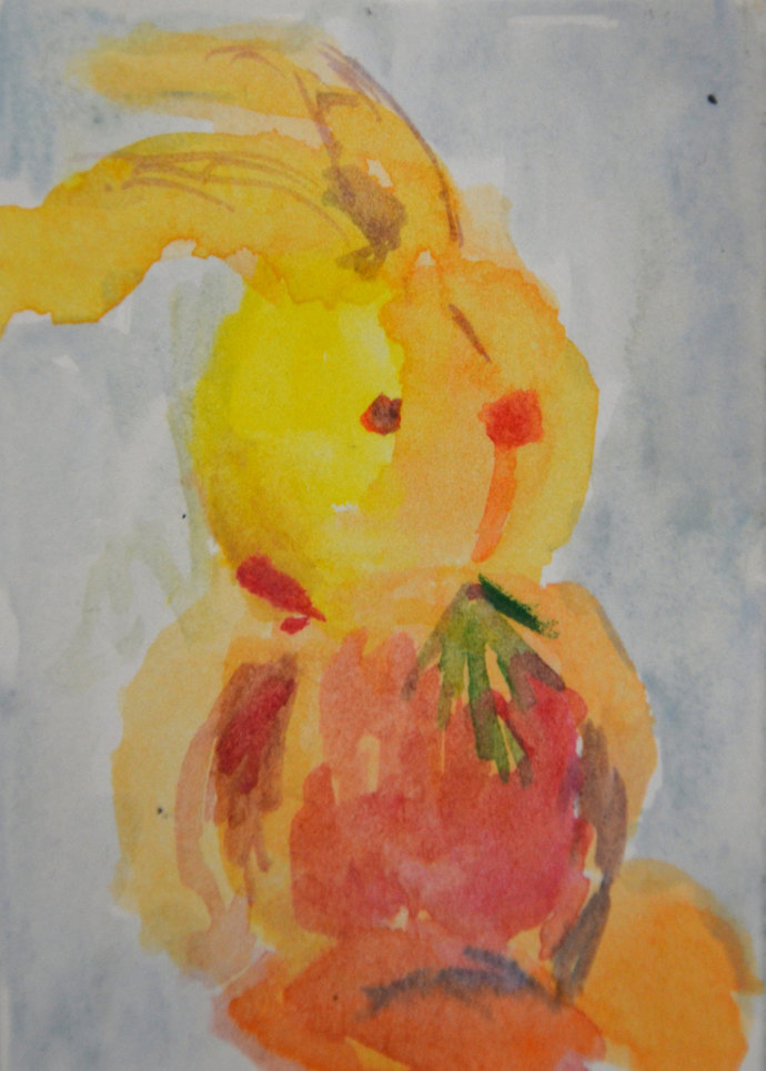 Original ACEO Watercolor Painting: My Bunny No. 6