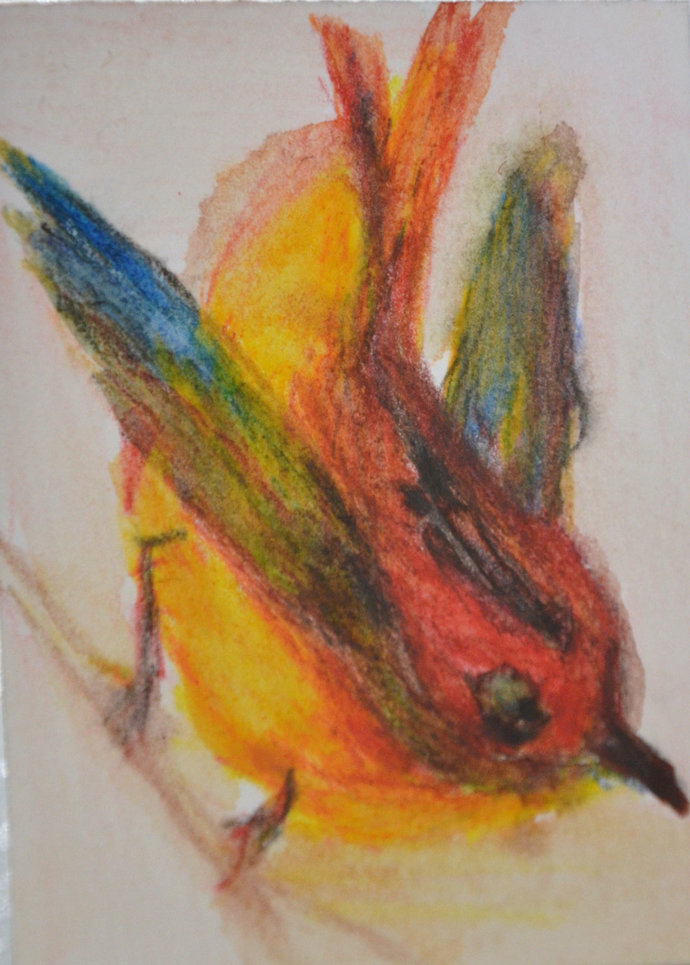Original ACEO Watercolor Painting- Flying Down