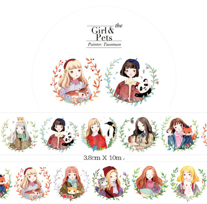 1 Roll of Limited Edition Washi tape- Girls and Pets
