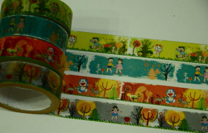 4 Rolls of Japanese Washi Masking Tape-  Doraemon The Robot Cat