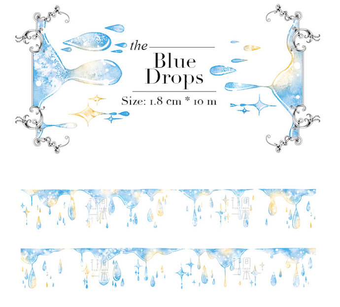 1 Roll of Limited Edition Washi Tape: The Blue Drops