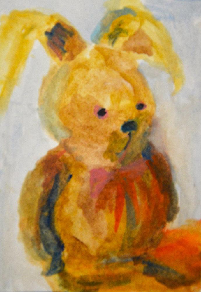Original ACEO Watercolor Painting: My Bunny No.1