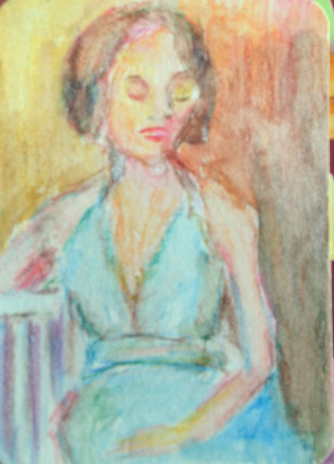 Original ACEO Watercolor Painting- Seated Lady