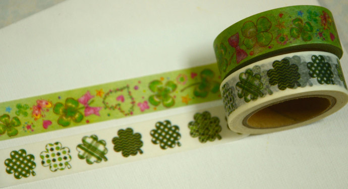 2 Rolls of Japanese Washi Tape Roll- Clover and Leaves