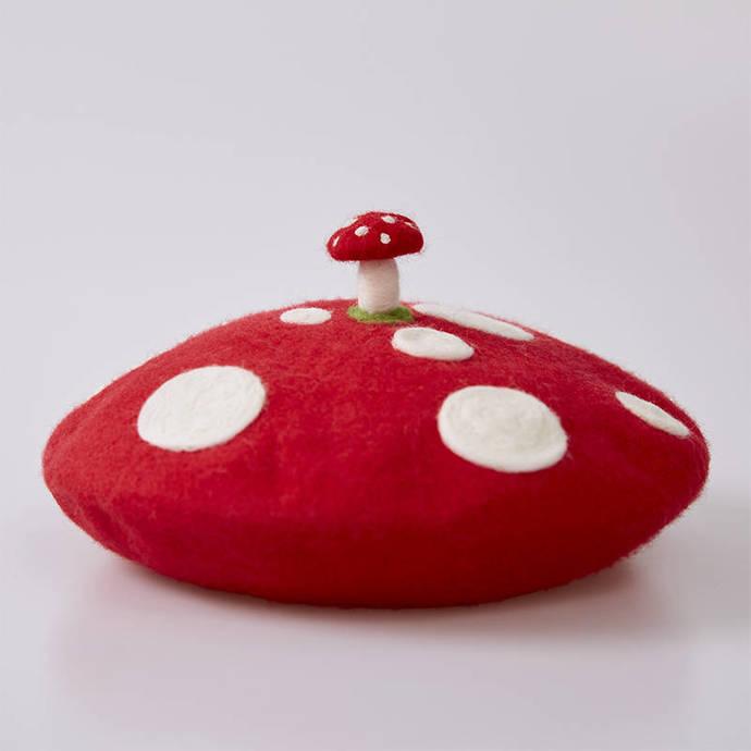 Needle Felted French Beret Hat: Red Polka Dot Mushroom