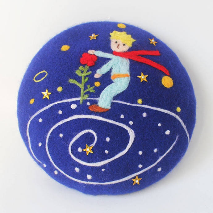 Needle Felted French Beret Hat: Little Prince and his Rose