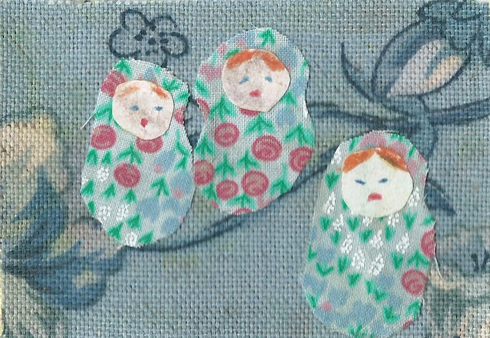 Original ACEO Collage - Triplets on the Twigs