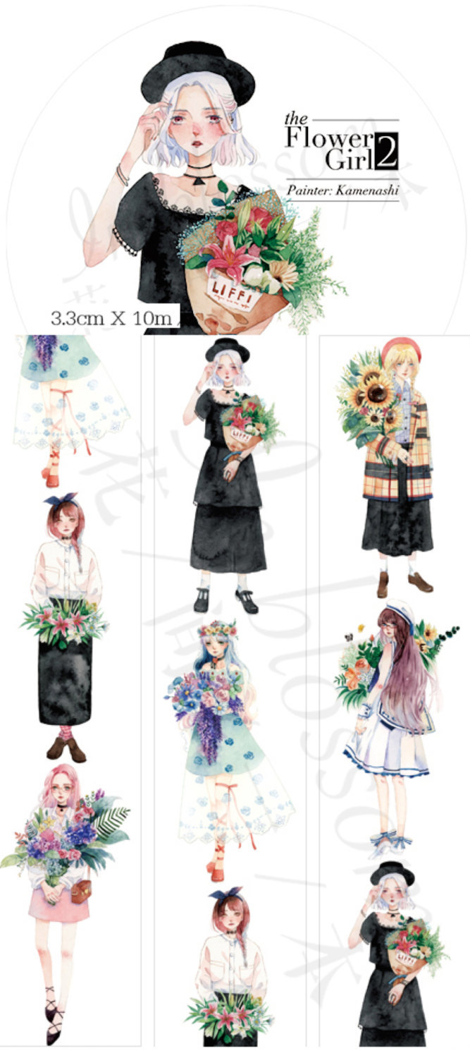 1 Roll Limited Edition Washi Tape: Flower Girls