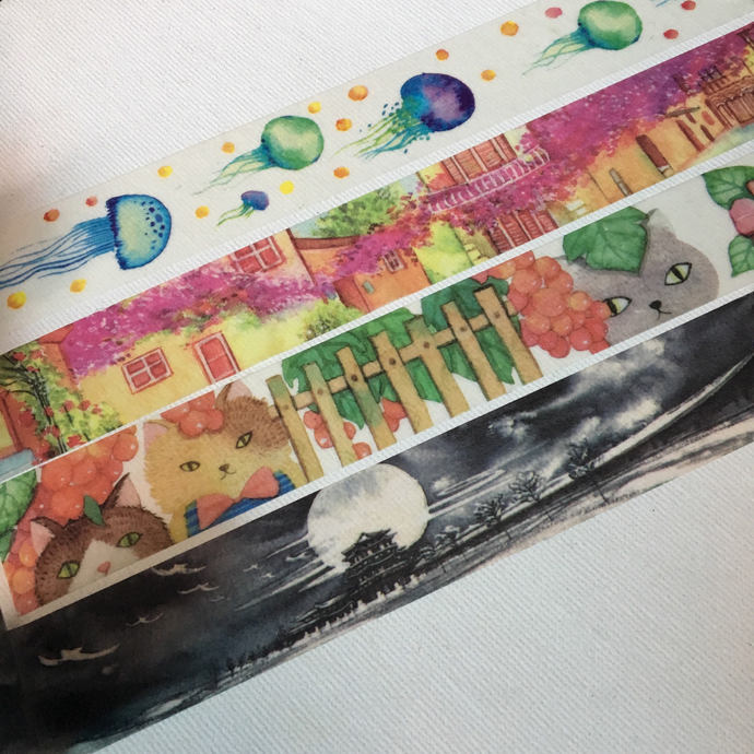 1 Roll of Washi Tape (Pick 1)- Jellyfish, Swiss Street, Cats and Flower, or