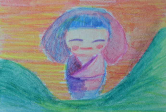Original ACEO Watercolor Painting- Japanese Doll