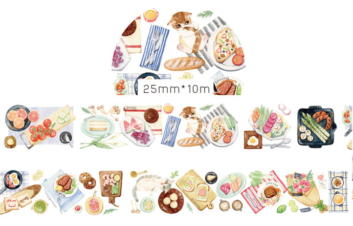1 Roll of Limited Edition Washi Tape: Light and Delicious Cuisine