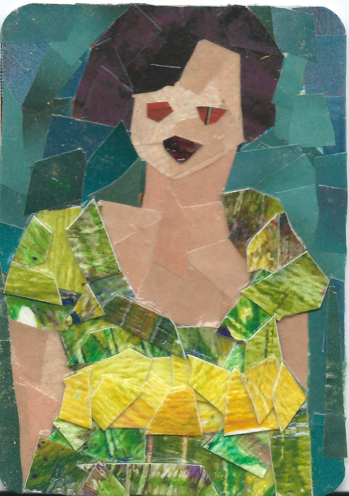 Original ACEO Collage- Lady in Green Dress