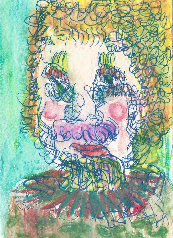 Original ACEO Watercolor and pen Painting-  Mr GURU