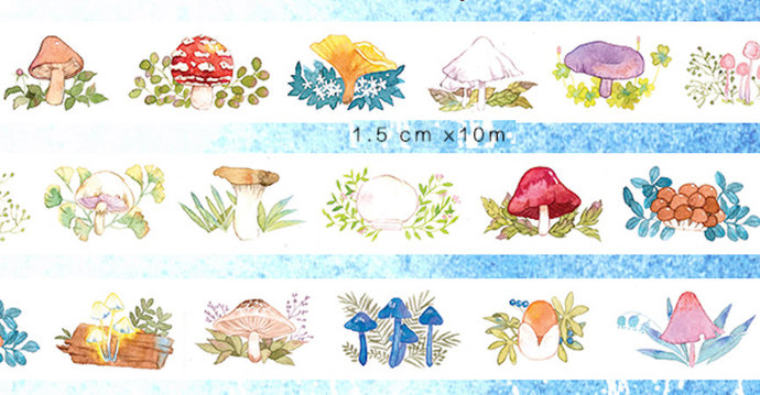 1 Roll of Limited Edition Washi Tape: Mushroom Forrest