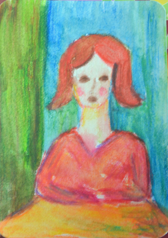 Original ACEO Watercolor Painting- Lady in Waiting