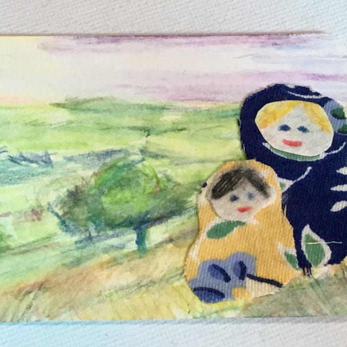 Original ACEO Watercolor painting Fabric Collage -Mother's and Child's