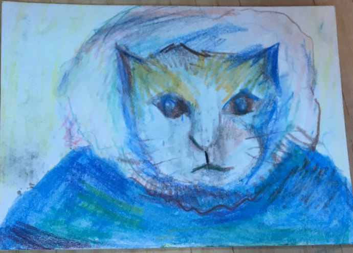 Original ACEO Watercolor Painting - Cat in a Beanie