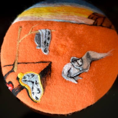 Needle Felted French Beret Hat Inspired by The Persistence of Memory by Salvador